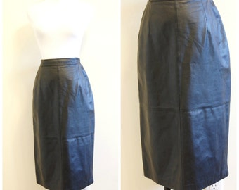 80s 90s Black Leather Skirt High Waisted Large Pencil Skirt