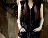 REDUCED, Renaissance Black Crushed Velvet Vest, OOAK Design, Art to Wear, Bohemian, Hippie, Vintage Trims, Hand Embroidery