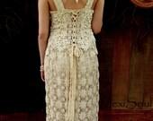 Two Piece Tea Dyed Wedding Dress, Hand Made Eco, Couture Bridal Wear, OOAK, Romantic, Elegant, Bohemian Chic, Vintage/Antique Linens