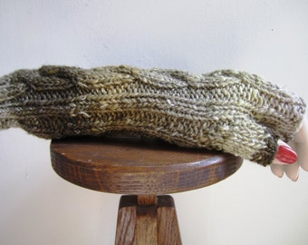 Fingerless Gloves Rustic Green Texting Mitts Cable Knit Nori Woodland - Size Medium