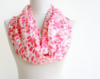 Infinity loop scarf coral pink scarf cotton gauze scarf circle scarf summer scarves for women fashion accessories gift for her polka dots