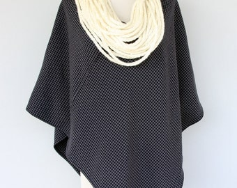 Women poncho wool blended strechy navy blue sweater with crochet scarf