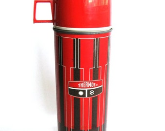 Retro Red Stripped Thermos