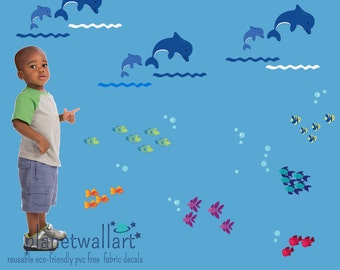 Fish Dolphins FABRIC Decals Reusable Non-toxic NO PVCs, A151
