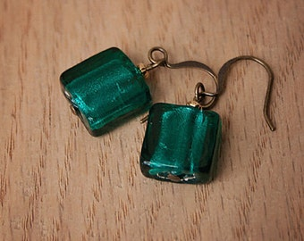 Handmade Teal Earrings Teal Lampworked Earrings Teal Dangle Earrings