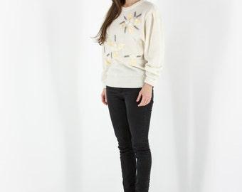 Cream Long Sleeve Jumper / Embroidered Vintage Sweater / Sequins Beige Jumper