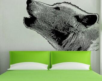 Vinyl Wall Art Decal Sticker Wolf Howling 5478s