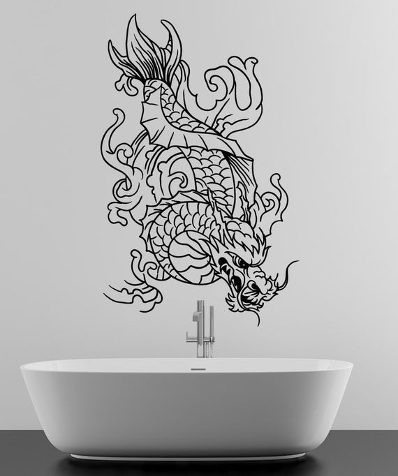 Vinyl wall decal sticker dragon koi fish 1499m for Koi fish wall stickers