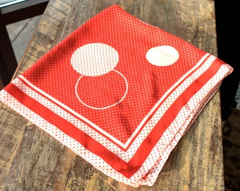 Vintage 1970s Scarf RED Polka Dot Scarf - Abstract Circles Scarf