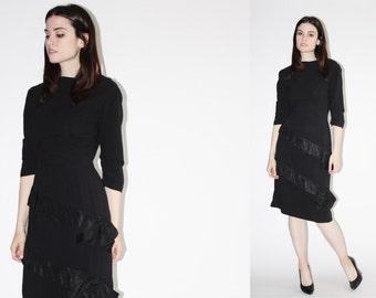 D - 1960s Black Dress - Vintage 60s Dress  - The Wrap it with a Bow Dress - 8052