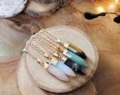 Gemstone Point Necklace/ Rose Quartz/ Opalite/ Amethyst/ Aventurine/ Tiger's Eye/ Point Spike Pendulum Gemstone/ Layering Necklace/ Stones