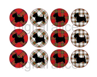 SCOTTY DOGS SCOTTIES Craft Circles -Scottish Terriers on Plaid Silhouette-Instant Download Digital Printable Dogs-Bottlecaps Collage Sheet