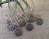 Sterling Silver Drop Earrings,Lotus Flower & Gemstone Sterling Silver Earrings,Charm,Birthstone,Ruby, Sapphire,Peridot,Citrine,Chakra