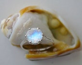 Reserved Listing Faceted Moonstone Engagement Ring Crown Setting