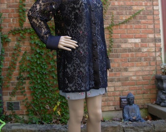 Vintage 90's black lace button up blouse / shirt, long length, size 12 large, see through, sheer mesh