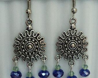 Dangle Earrings, Sunburst Earrings, Sunburst Dangle Earrings, Swarvoski Crystal Earrings, Tibetan Silver Earrings, Blue and Green