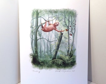 Sloth and Butterflies Rainforest Forest Print of Original Illustration