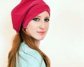 Vintage 1960s Velvet Tam with Straps Hot Pink / 60s Fuschia Slouchy Hat Beret Miss Alice