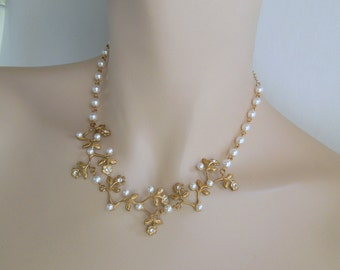 Pearl bridal Necklace rhinestone Bridal Necklace Pearl Rhinestone Necklace swarovski pearl and crystal necklace Statement Necklace RAMONA