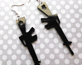SHOT Through The HEART- XL Gun Jet Black Laser Cut Acrylic Earrings