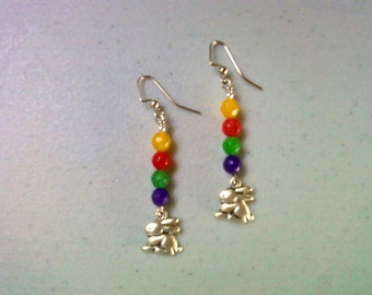 Colorful Easter Bunny Earrings (1250)