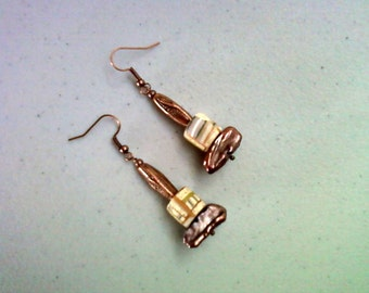 Copper, Olive and Sand Ethnic Inspired Earrings (1224)