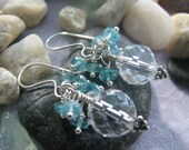 Crystal Quartz and Apatite Cluster Earrings on Argentium and Bali Silver