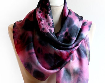 Explosion Nebula Silk Scarf in Pink and Black