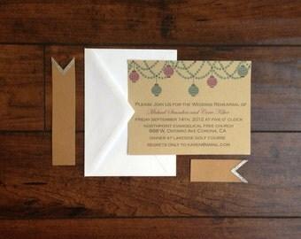 Wedding Rehearsal Dinner Invitation, Rehearsal Dinner Invite, Paper Lantern  On Kraft Paper Rehearsal Wedding