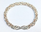 Byzantine Chainmaille Bracelet in Sterling Silver and Copper