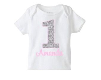 Silver Pink Number Birthday Shirt , Girls 1st Birthday Shirt or Bodysuit