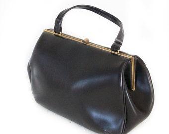 Adel, French Vintage, 1950s Black Leather Handbag, from Paris