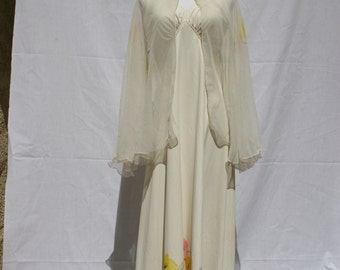 1970's Vintage Maxi Dress with Matching Shawl