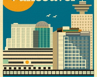 Vancouver Skyline Art Print, Vancouver Wall Art, Vancouver Vertical Print, Vancouver Canada Art, Vancouver Digital Art - style E8-O-VAN