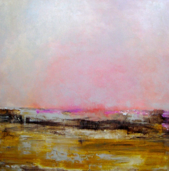 Abstract LANDSCAPE ORIGINAL painting-24x24 yellow, ochre, grey, pink sunset painting by devikasart