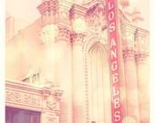 Los Angeles print, LA photography, LA Theatre photo, pink girls room wall art, architecture print, baby nursery decor, Modern Family