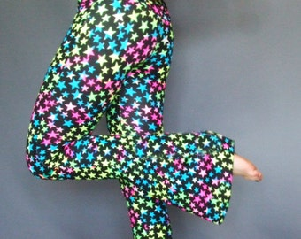 Neon Star Leggings, UV Pink, Yellow, Blue, Spandex Pants, Bell Bottoms, Rave, Party Flares, Dance, Flared, Burning Man Festival, S, Small