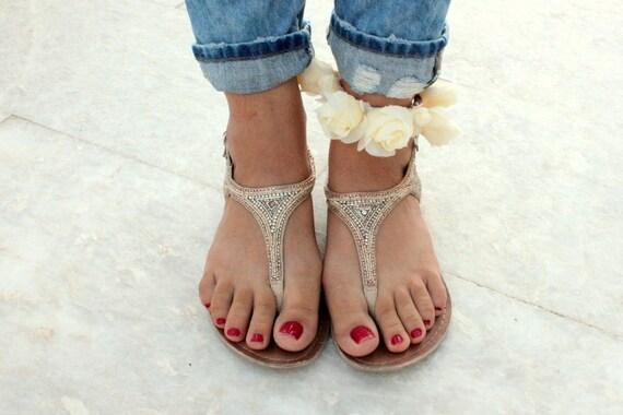 Bohemian Flower Anklet Bracelet Cream silk flowers Floral fabric Footwear Accessories Hippie foot bracelet hippie anklet Beach Wedding