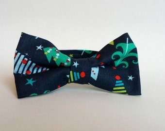 New! Little Boys Christmas Bow Tie - Navy Blue with Christmas Trees - Toddler Navy Bow Tie - Pre-Tied Bow Tie - Size Infant, Toddler, Youth