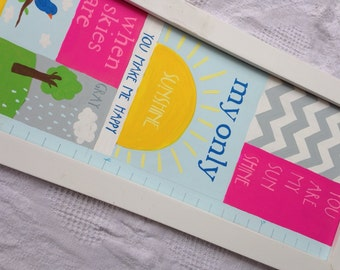 You are my sunshine--Hand Painted Growth Chart with Handcrafted Frame