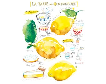 Kitchen wall art, Lemon meringue pie recipe print, 11X14 print, Watercolor food painting, Yellow Home decor, Fruit art, Large kitchen poster