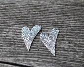 Heart Blank-Funky Patterned Silver Heart-Right facing-17x 26mm-Antique Silver-Detailed-You get TWO