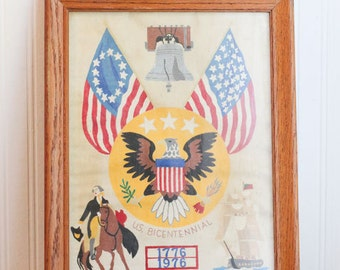 Vintage Bicentennial Painting, Patriotic Stencil Painting, 1976  Framed Art, Paul Revere, Liberty Bell, America, Eagle  Home Deco  Americana
