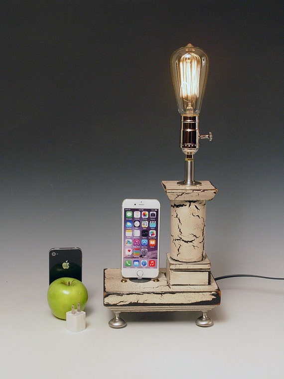 Reclaimed wood iPhone Dock with lamp and wall charger for ANY iPhone. Cottage Rustic. 710. Antique white. Edison bulb.