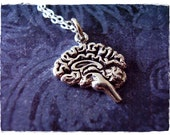 Silver Brain Necklace - Sterling Silver Brain Charm on a Delicate Sterling Silver Cable Chain or Charm Only