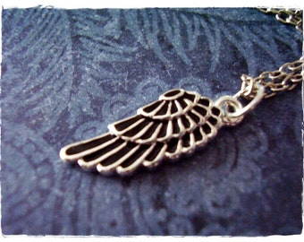 Black Wing Necklace - Black Enameled Silver Plated Wing Charm on a Delicate Silver Plated Cable Chain or Charm Only