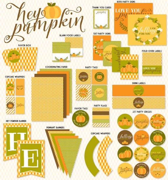 Hey Pumpkin Bridal Shower PRINTABLE Party by Love The Day
