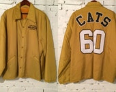 Vintage Wildcats Jacket / 70s Yellow Puffy Coat / 60s Men's Embroidered Sports Coat XXL