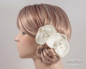 2 Bridal Orchid Fascinators in cream/ light ivory.  freshwater pearls & ab glass crystals