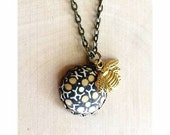 Bumble - upcycled vintage Liberty of London necktie - covered button bee charm necklace - bird and the bee gift - bumble bee necklace